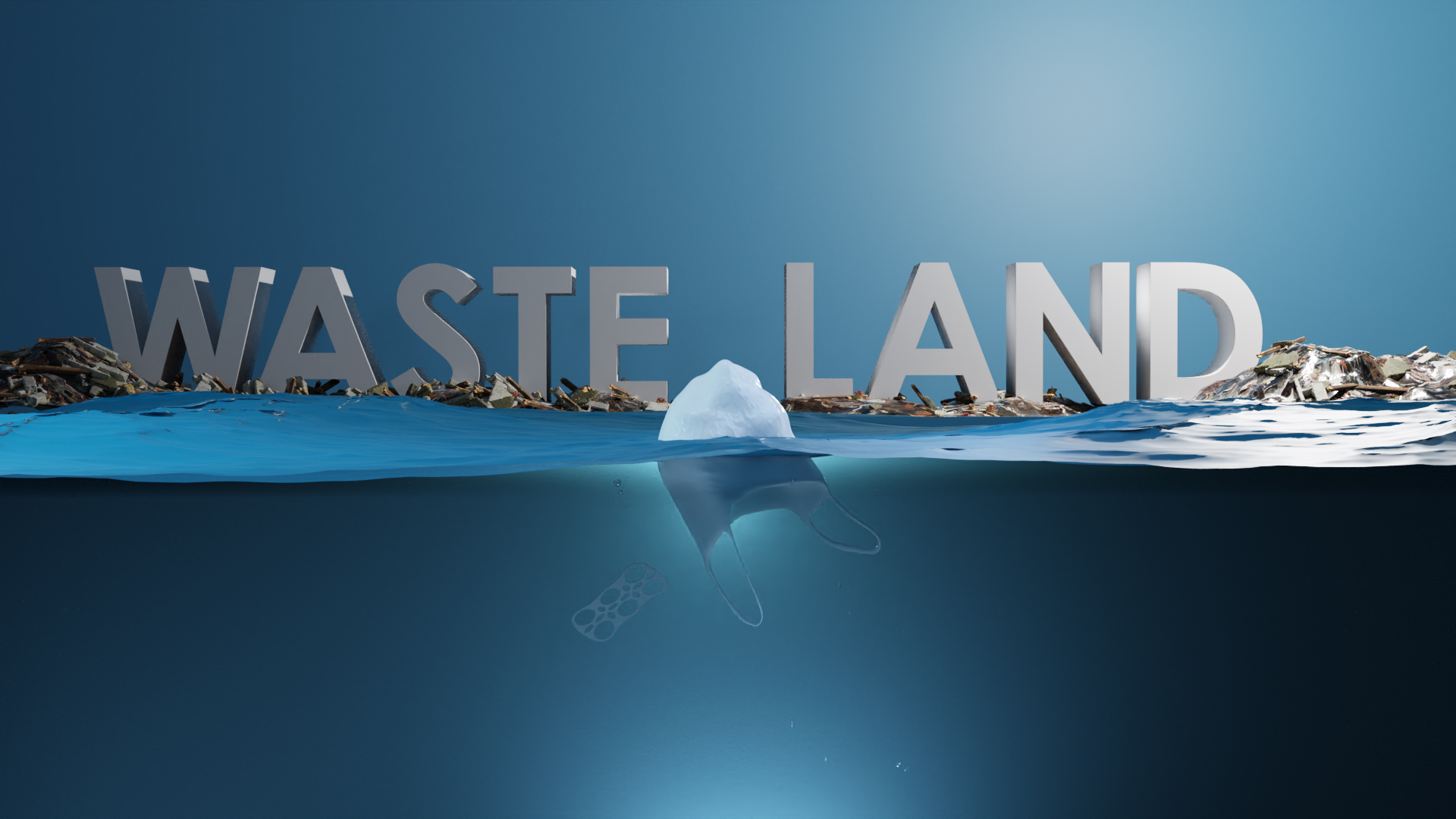 "image of garbage and the words ""Waste Land "" floating in the ocean"