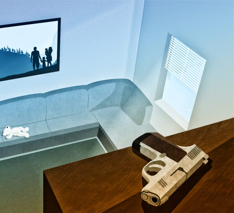 illustration of a family room with a stuffed animal on the couch, a family portrait hanging on the wall and a gun left out on top of a bookshelf protecting against accidental shootings