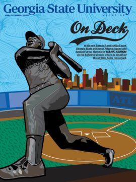 Cover of the spring 2021 issue featuring an Illustration of Hank Aaron statue in front of the future Georgia State baseball/softball complex with the Atlanta skyline in the background