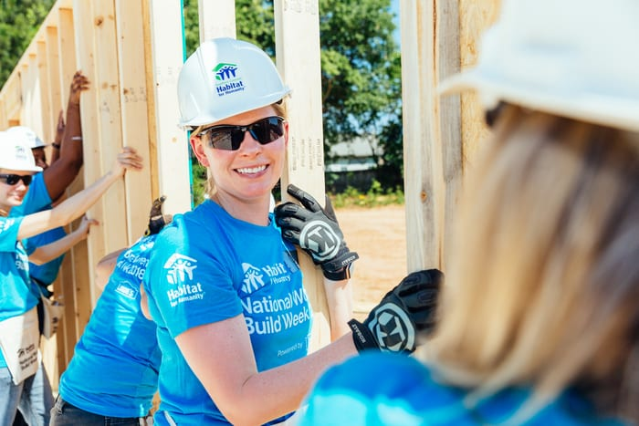 Catherine Slocum at a Habitat for Humanity build site