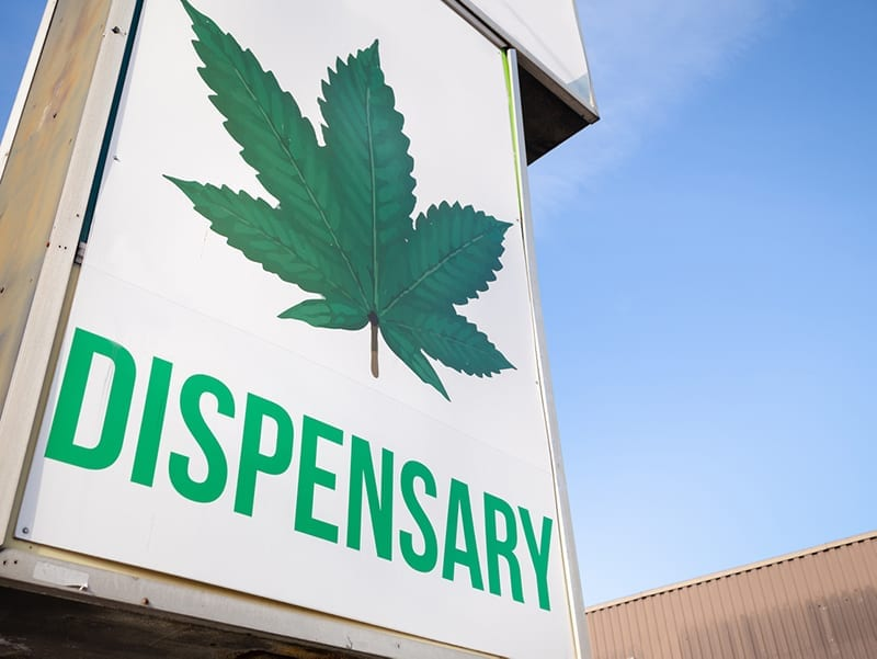 Sign for a marijuana dispensary
