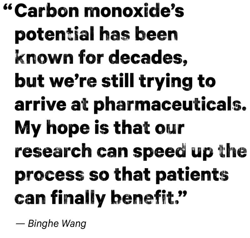 "Pull Quote: ""Carbon monoxide's potential has been known for decades, but we're still trying to arrive at pharmaceuticals. My hope is that our research can speed up the process so that patients can finally benefit."" – Binghe Wang"