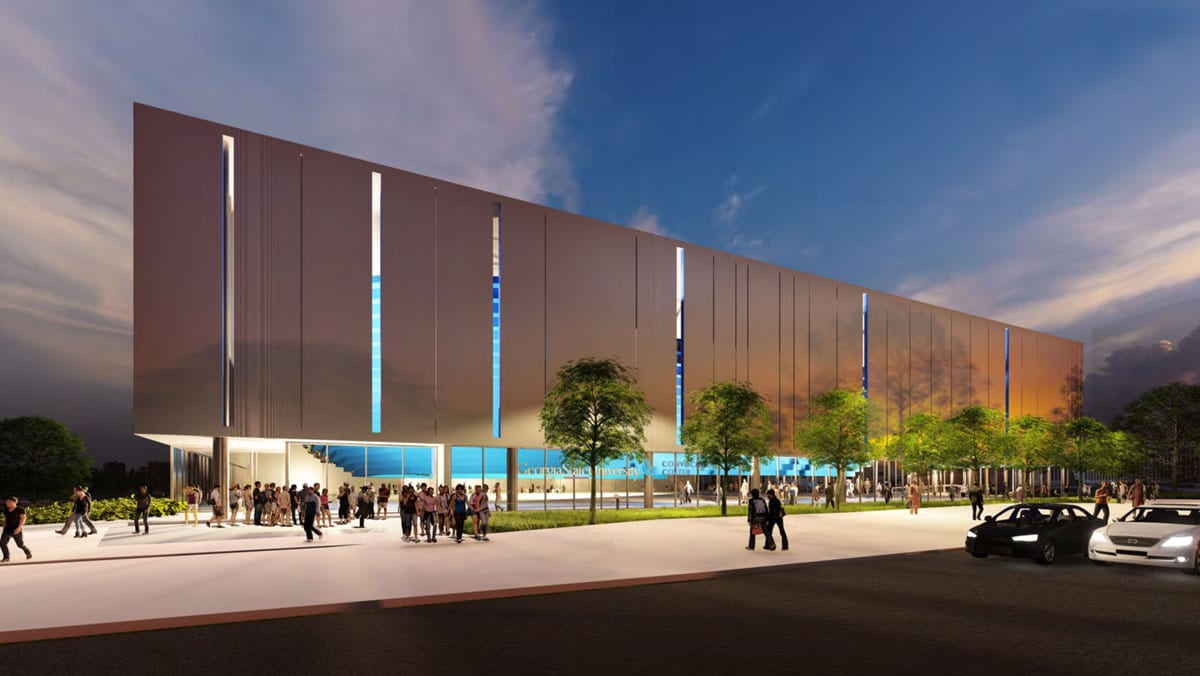 A rendering of the new Georgia State Convention Center at night.