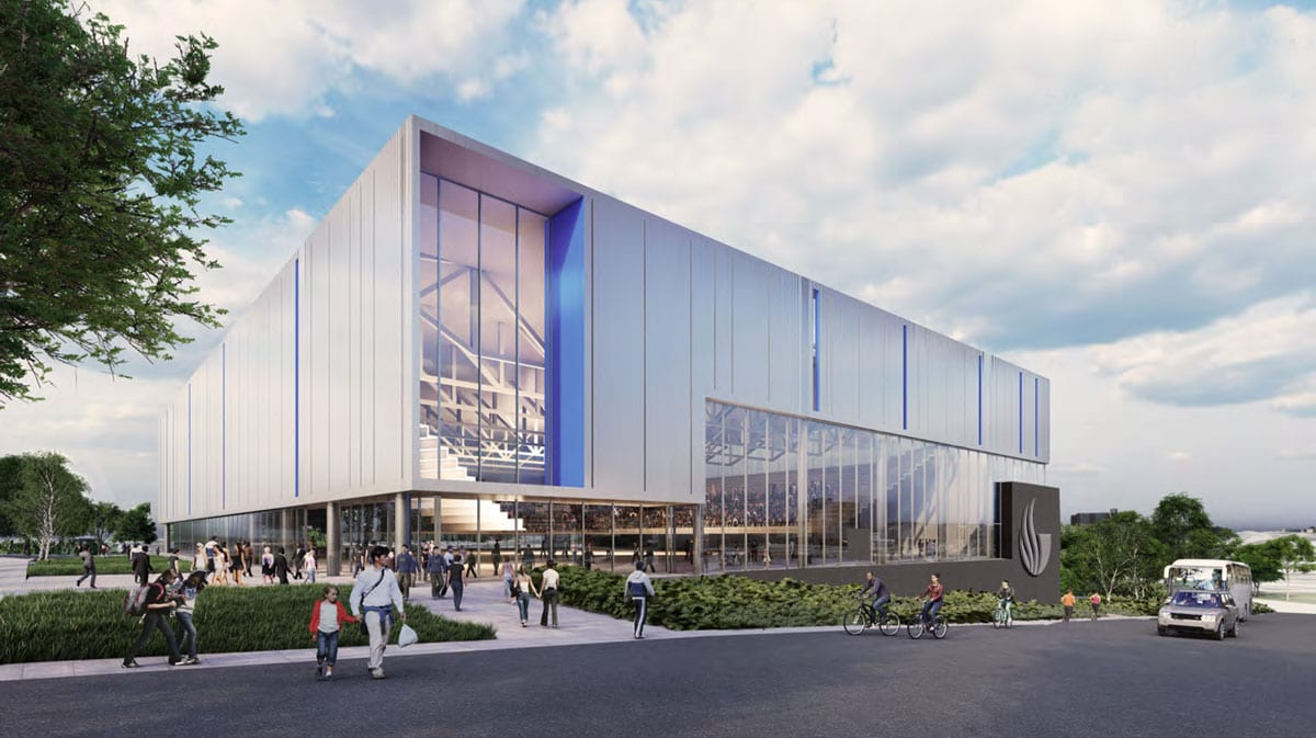 A rendering of the northeast elevation of the new Georgia State Convention Center