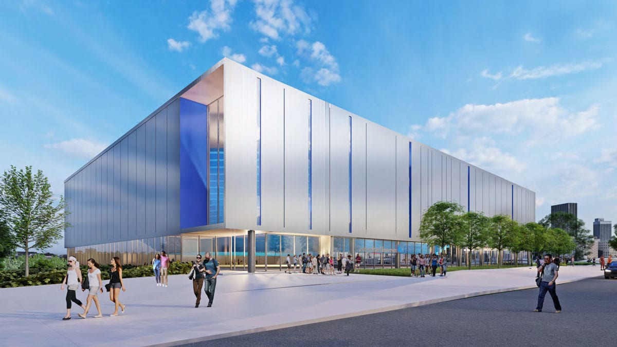 A rendering of the southeast elevation of the new Georgia State Convention Center.