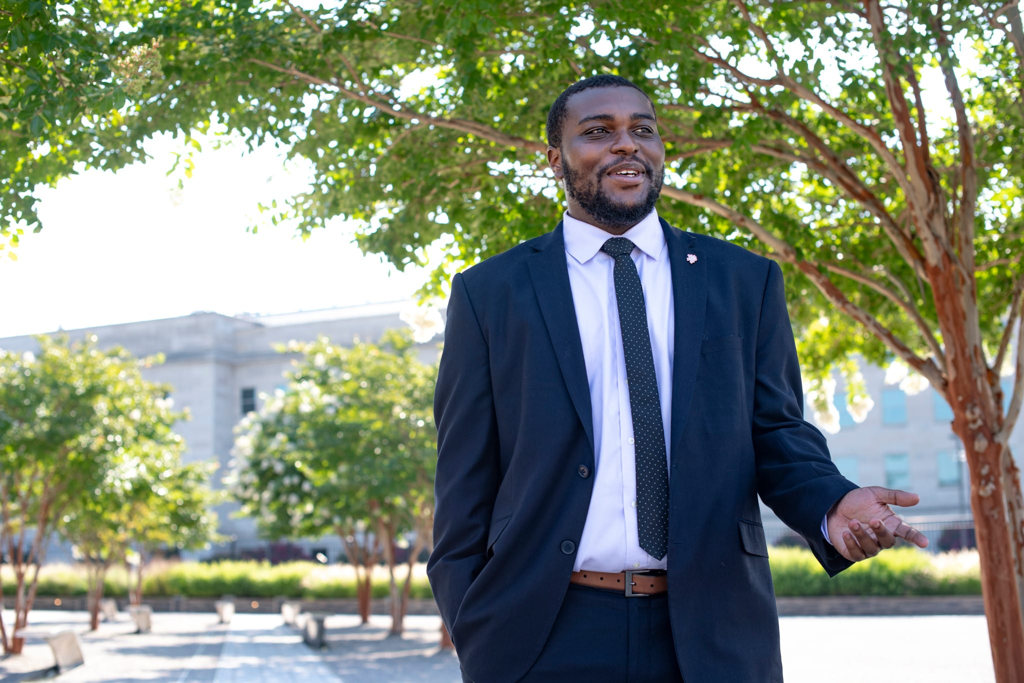 Evan Malbrough, a Public Policy undergraduate in the Andrew Young School outside of the Pentagon