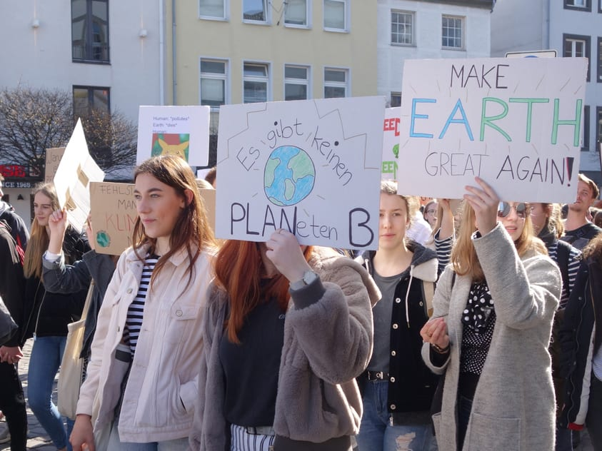 Climate change activists at a demonstration
