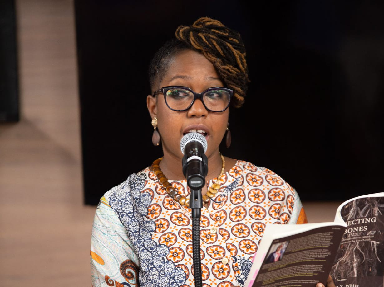 Jacinta Wright reading from her latest book of poetry. Photo credit: Shaw Photography Group