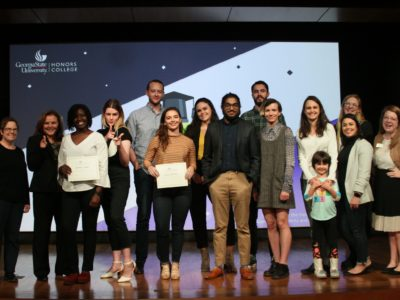 Eleven honors students competed in the Fall 2019 Honors Thesis Pitch in which they were challenged to present their undergraduate research in a relatable and engaging way in just three minutes or less.