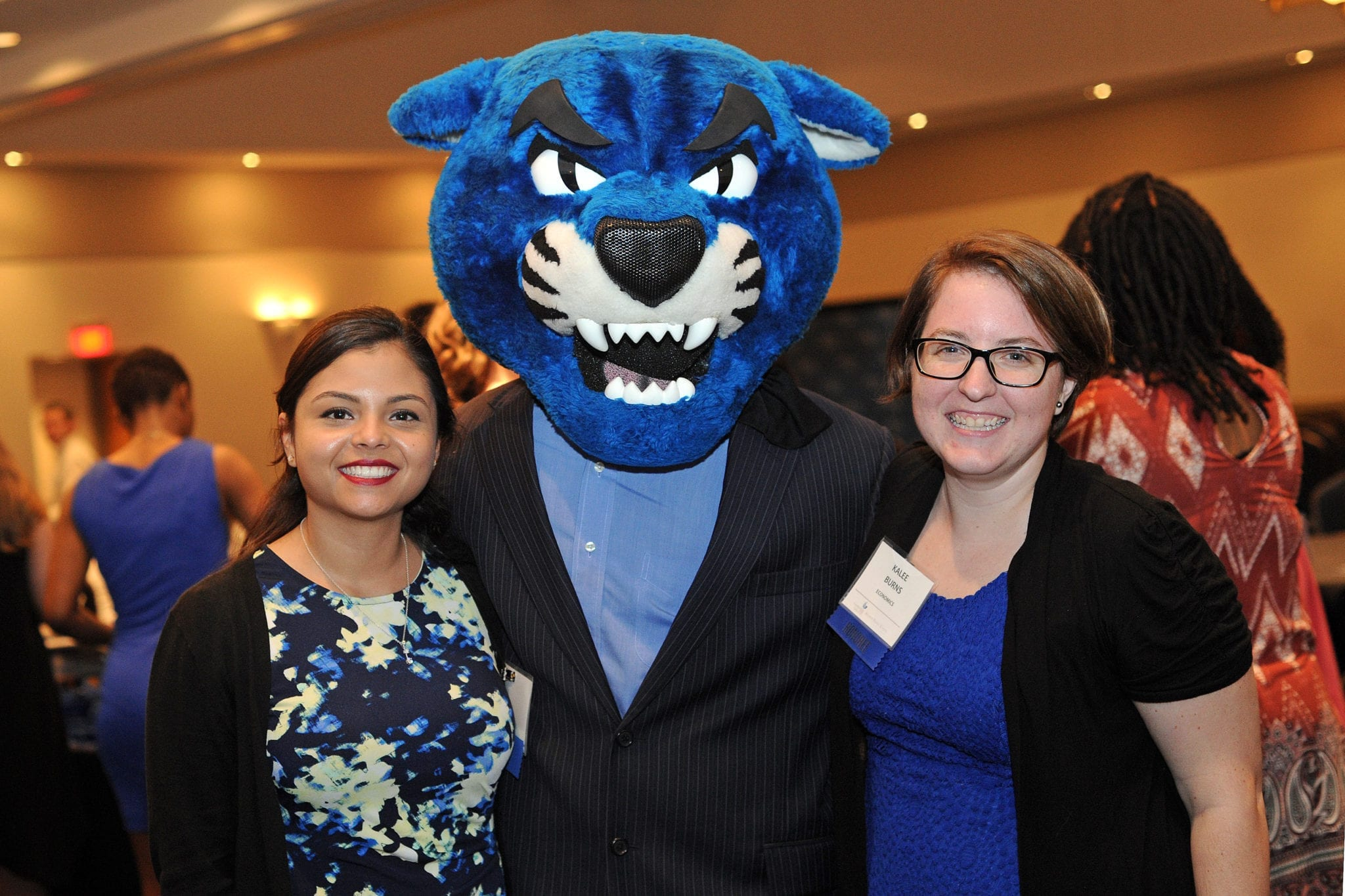 Students with Pounce the Panther on Honors Day in 2017