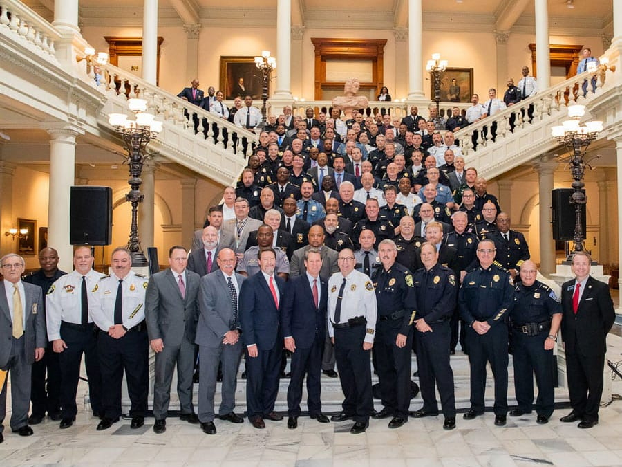 Georgia International Law Enforcement Exchange members at the Georgia State House