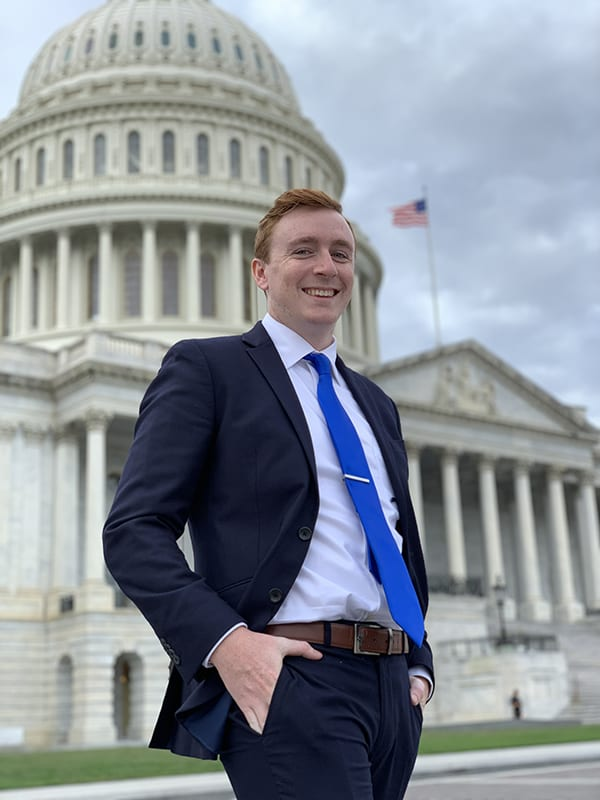 Austin Birchell in front of the Capitol building in Washington, D.C.