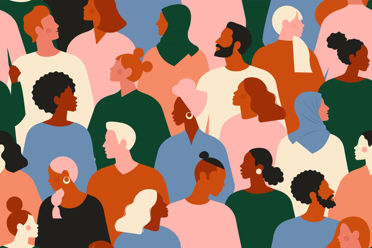 Illustration of a multi-racial crowd of people