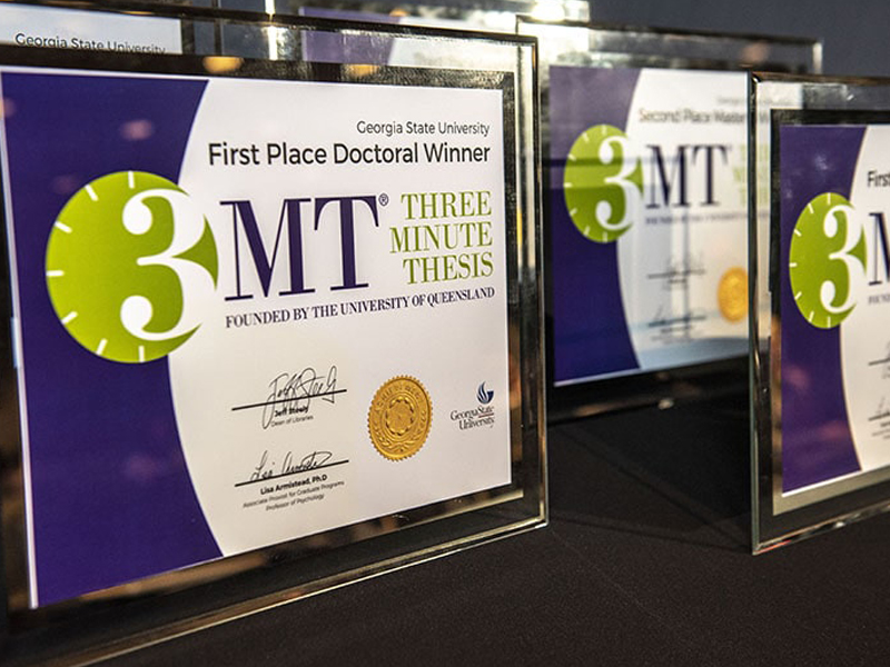 Award plaques for the Three-Minute Thesis (3MT) contest at Georgia State University