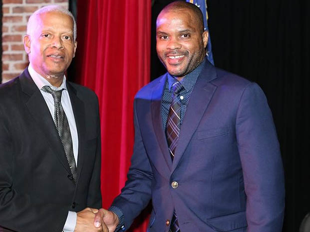 Gideon Melvin, right, a Perimeter College student and recipient of a Congressional Black Caucus Scholarship, is shown here with U.S. Rep. Hank Johnson (D-Ga.). Melvin received an internship to work in Johnson's Atlanta area office in spring of 2020.