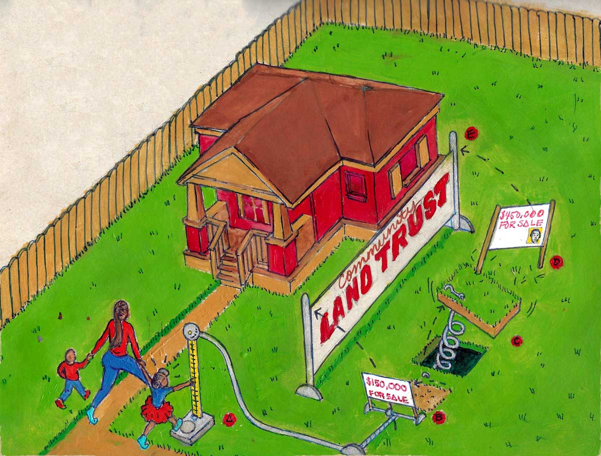 covid 19 pandemic housing insecurity housing crisis community land trust illustration by Fabian Williams