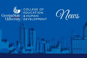 "The College of Education & Human Development logo and the word ""news"" on top of a blue-tinted illustration of the Atlanta skyline"